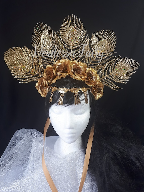 Cleopatra Headpiece Gold Headdress Egyptian headpiece Gold goddess headpiece Egyptian Goddess Crown Egyptian Queen Gold Headpiece
