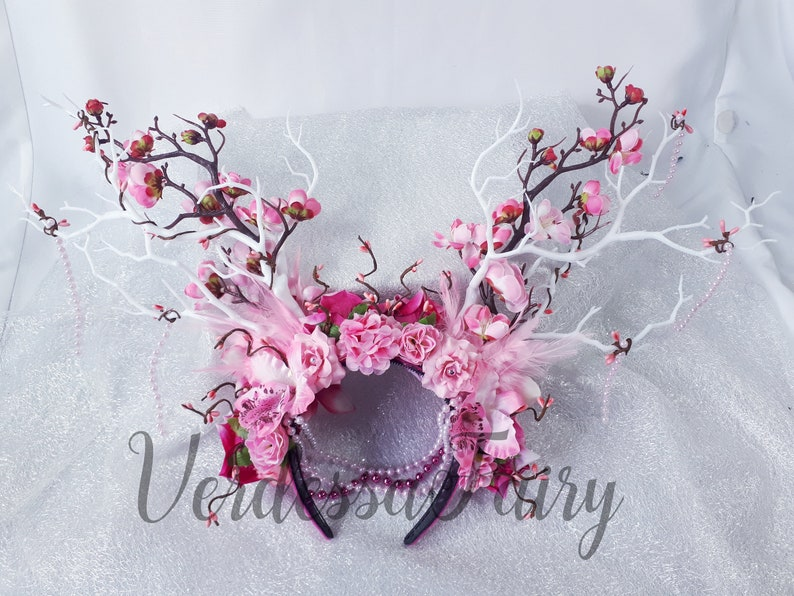 Branch antler headdress blossom headdress. White and pink branch blossom headpiece Pink fairy large flower crown with branches /& blossom