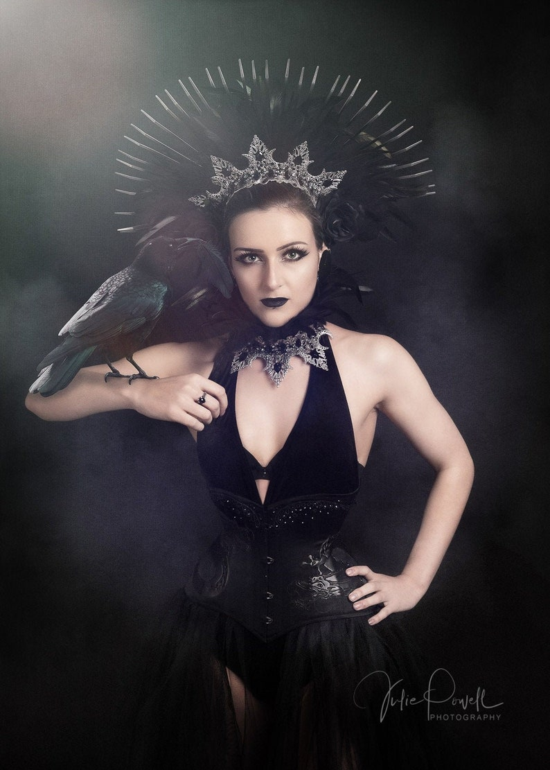 Black spiked halo Gothic Fetish headdress Gothic Raven Queen headdress and feather collar Evil Queen  Crow costume.