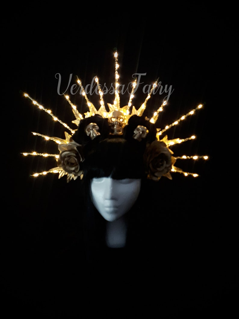Light up Gold Voodoo Spiked Halo Headdress Evil Queen crown with skulls Gold skull day of the dead headpiece WITH LED LIGHTS.