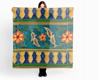 Spanish Tile coloured vintage summer in Shirt, T-shirt, Scarf , Bag Tote All Exclusive Design