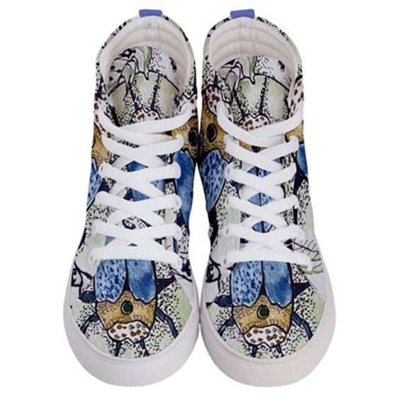 Baskets de skate homme/femme Hi-top, bonne chance Bleu Bleu Bleu  beetle Egypte dessin, symboles, conception artistique créatif Original créée par l'artiste f8d196