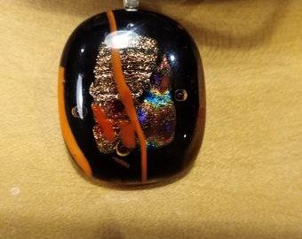 Black, Bronze and Orange Fused Glass Pendant