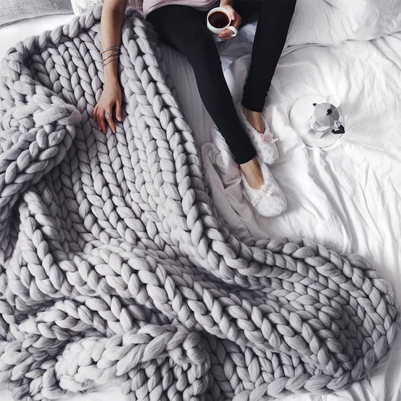 chunky knit throw blanket for fall