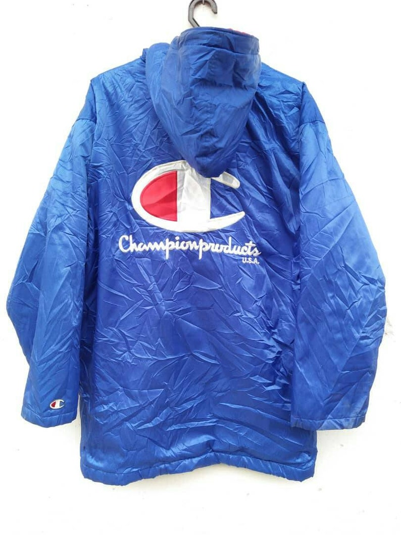 vintage 90s Champion big Logo Embroidery Parka  long jacket