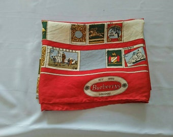 vintage Authentic Luxury Brand Burberrys silk Scarf Made In Italy rare design.