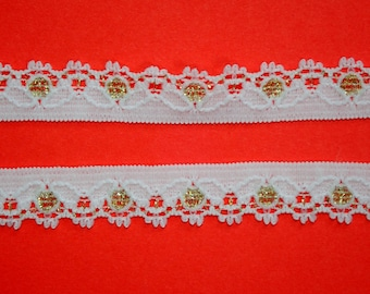 10 METRES White and Gold Narrow Stretch Lace Trim 1cm TOP SELLER Trimming