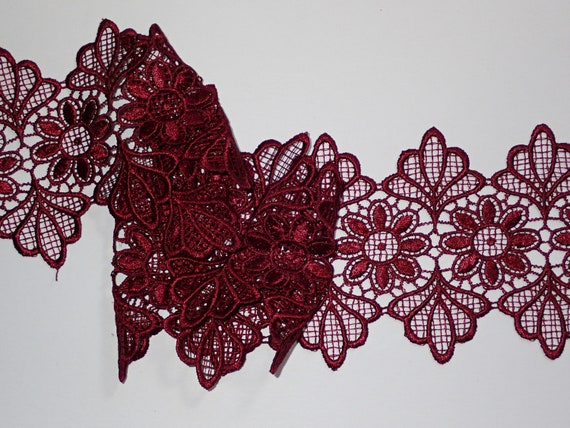"""Beautiful Black Rose Soft Stretch Lace Trim 3.5/""""//9cm Sewing The Place For Lace"""