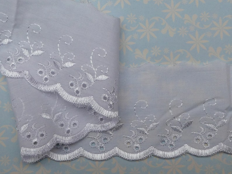 13.7 Metres Quality Bright White Broderie Anglaise Lace Trim 3