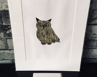 Owl Forest Creatures A3 Mounted Print and Greeting Card Picture