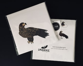 Golden Eagle Greeting Card by DrawMe Designs