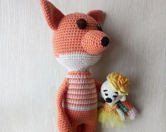 Crochet Fox Toy Woodland animal Soft cotton toy for kids Plush stuffed animal Baby gift Birthday gift Amigurumi Fox Soft animal/joking toy
