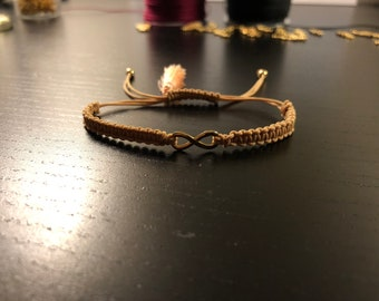 Women Infinity Bracelet, Beige and Gold