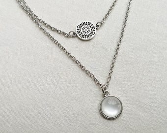 Layered necklace, antique silver filigree necklace, douple strand necklace with white resin pendant