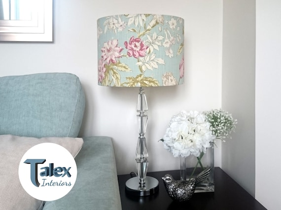 Shabby Chic Lampshade Duck Egg Blue Floral Lamp Shade In Vintage French Style Pale Turquoise Hanging Pendant Ceiling Light Floor Table