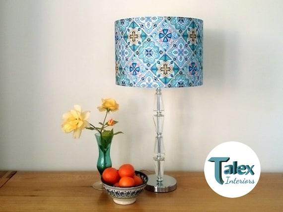 Teal Blue Lampshade Pea Moroccan, Aqua Blue Lamp Shades