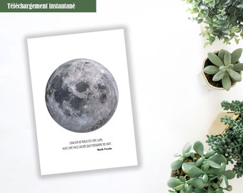 Moon poster to be printed with quotation, A4 poster to print, white background