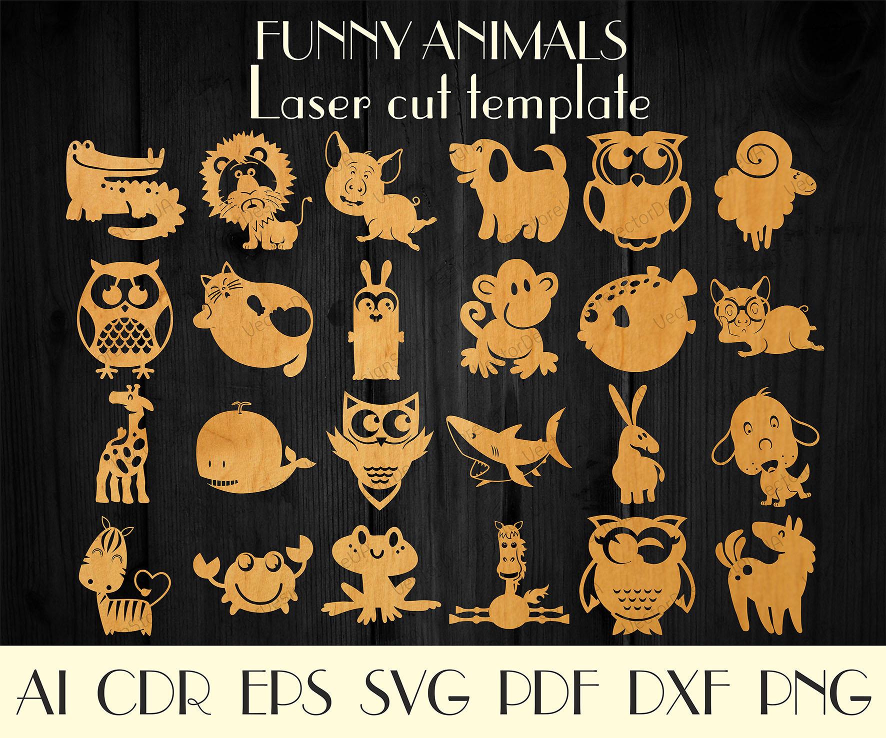 Set 24pcs Funny Animal Figuresanimals Laser Cut Animal Etsy