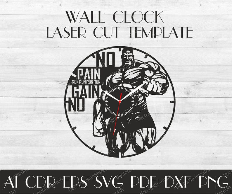 Bodybuilding clock svg,Sport clock,Gym wall clock,Sport dxf,Crossfit clock for wall,Sport laser cut,Vector for CNC,Clock laser cut WCM-12