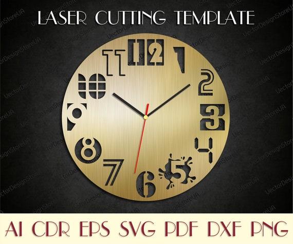 Unique clock svg,Modern clock,Wall decor file,Wooden clock,Laser cut files,Birthday gift,Dxf files for laser,Clock dxf,Clock svg WCM-106