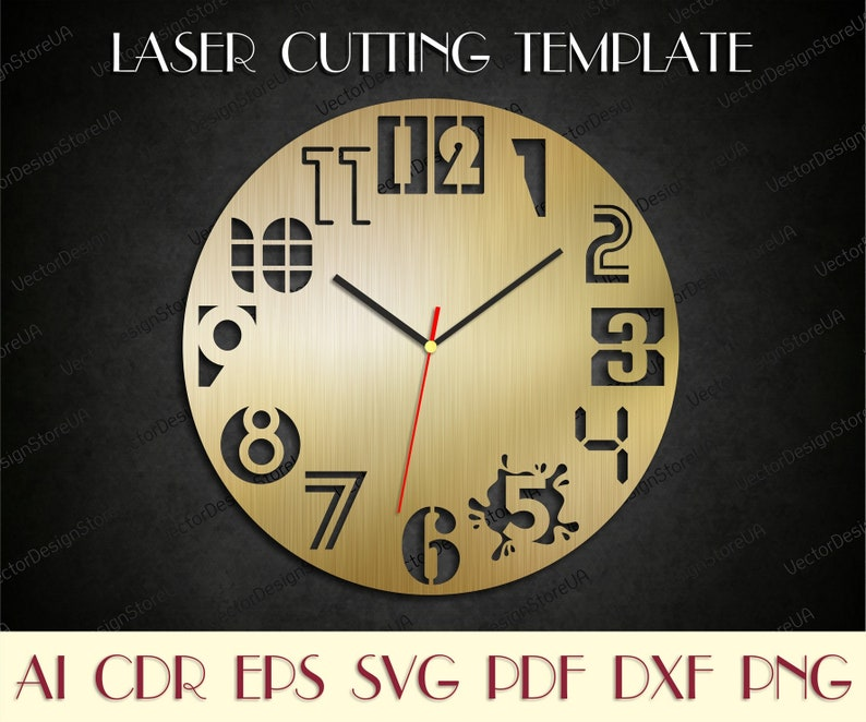 Modern Clock Svgunique Wall Decorclock Numberswooden Clocklaser Cut Filesbirthday Giftdxf Files For Laserclock Dxfclock Svg Wcm 10