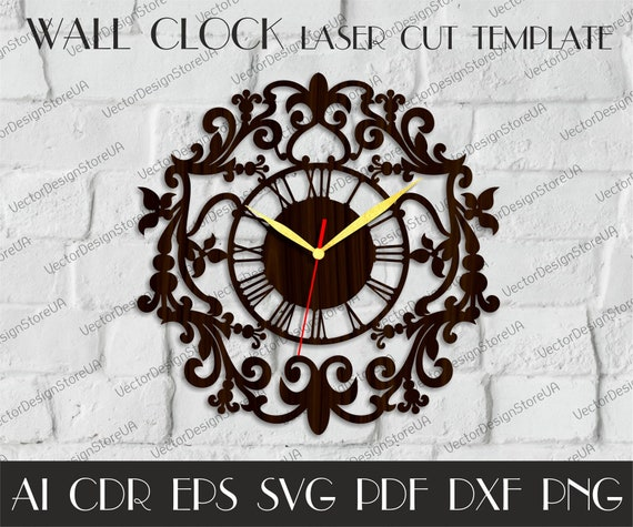 Vintage clock svg,Clock dxf,Large wall clock,Wood wall clock file,Laser cut  template,Birthday gift,Vector for CNC,dxf files for laser WCM-95