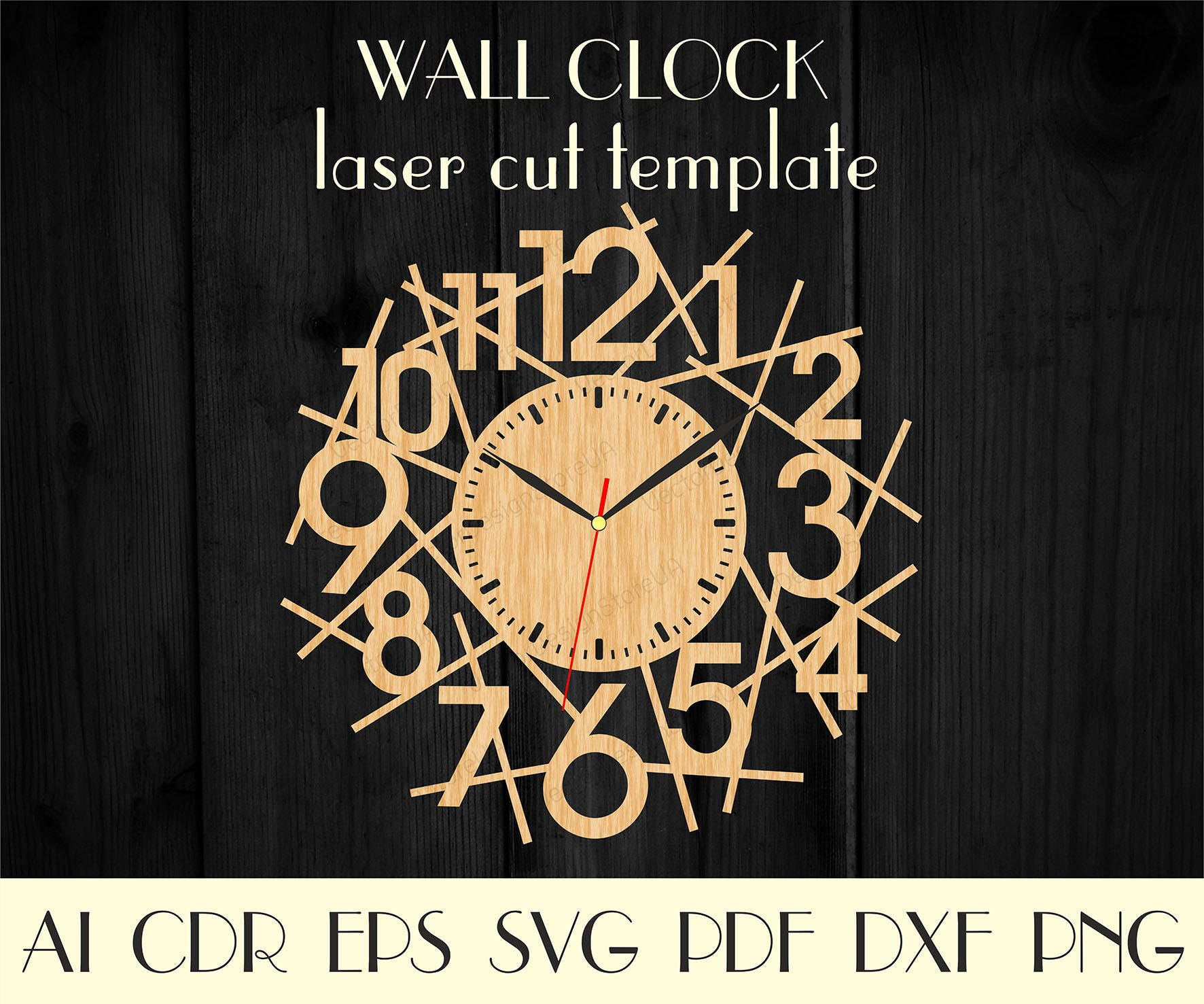 Clock modern Large numbers clock svg Wood wall clock dxf   Etsy
