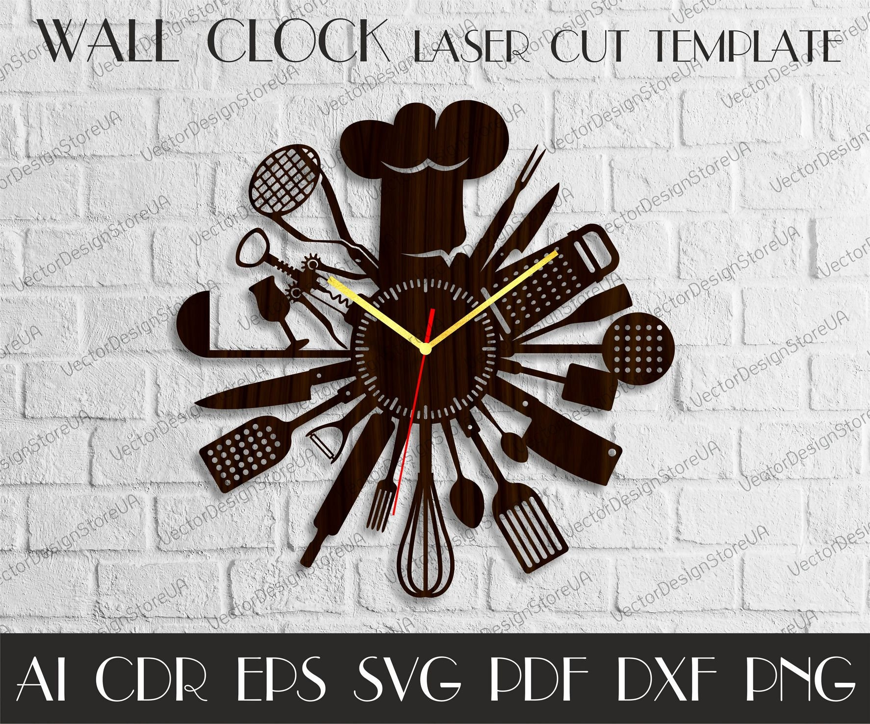 Kitchen Clock Svgkitchen Clock For Wallkitchen Decor Etsy