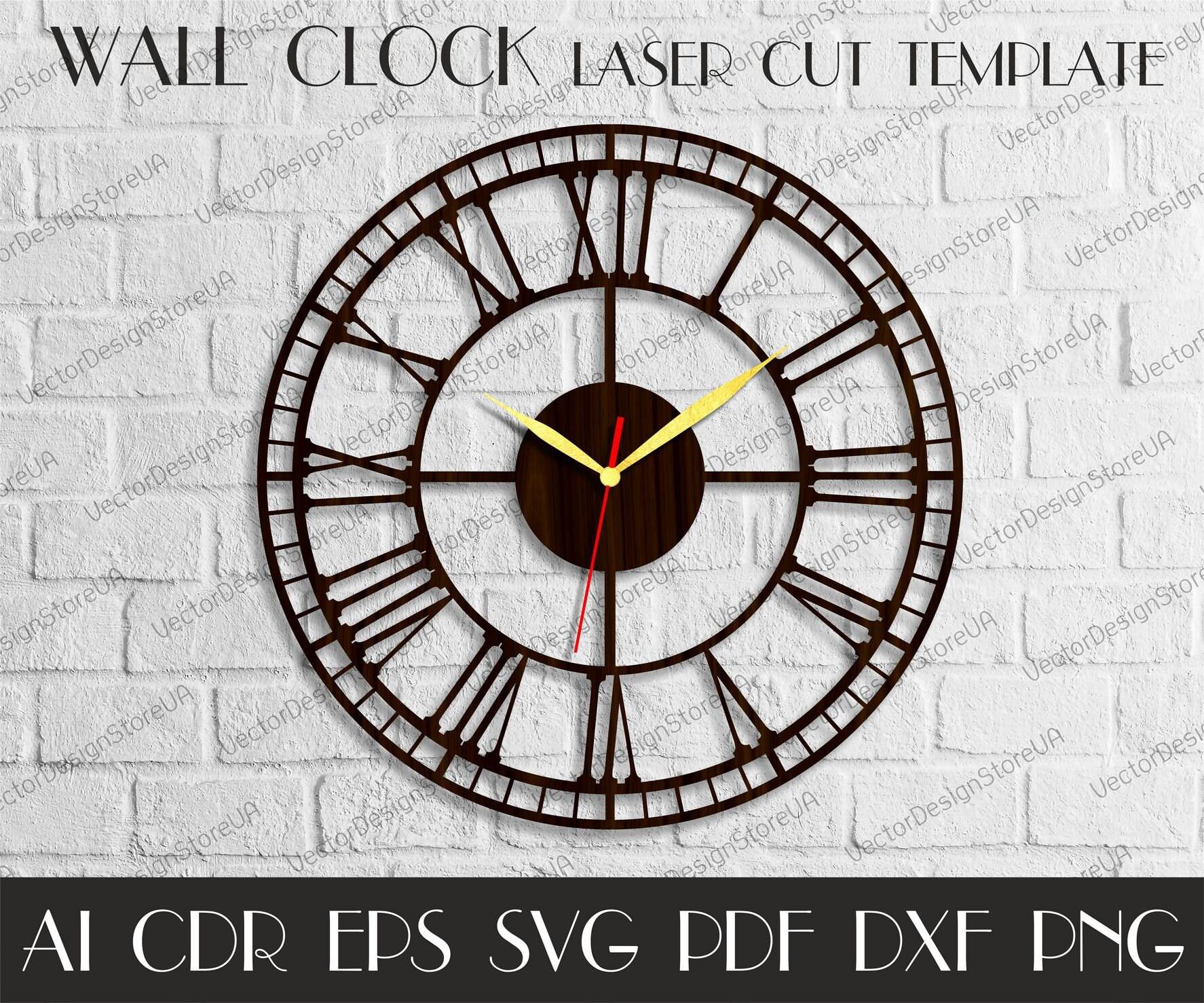 Vintage clock Large wall clock Wood wall clock Laser cut   Etsy