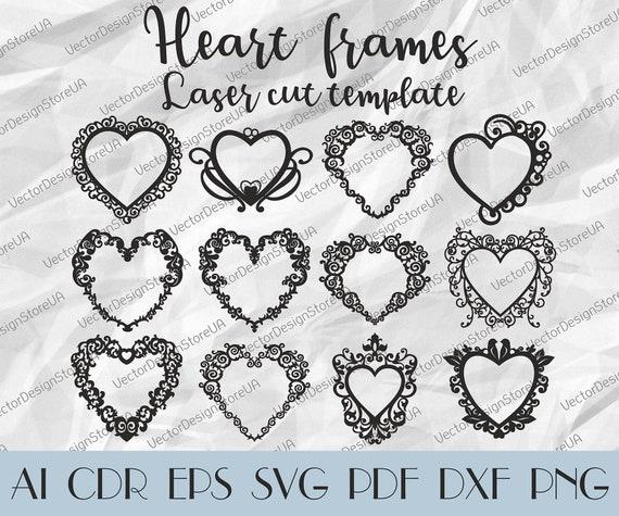 Set 12Pcs Heart frame patternHeart monogramsHeart frames   Etsy