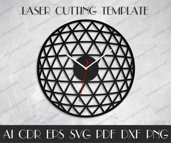 Geometric wall decor,Home clock svg,Modern wall decor,Unique clock,Dxf  files for laser,Birthday gift,Clock dxf,Clock svg,cnc plans WCM-108