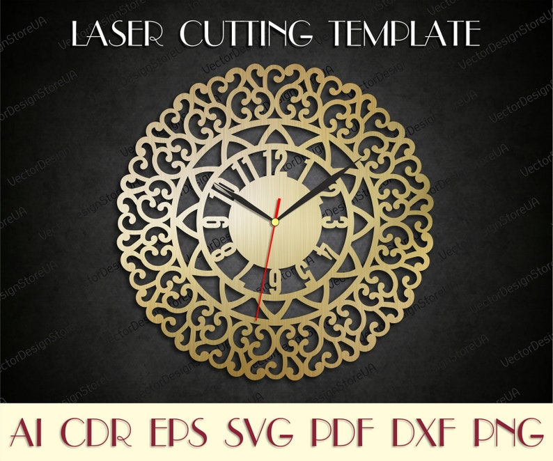 Vintage clock svg,Clock dxf,Large wall clock,Vintage decor for wall,Laser  cut files,Birthday gift,Vector for CNC,dxf files for laser WCM-99