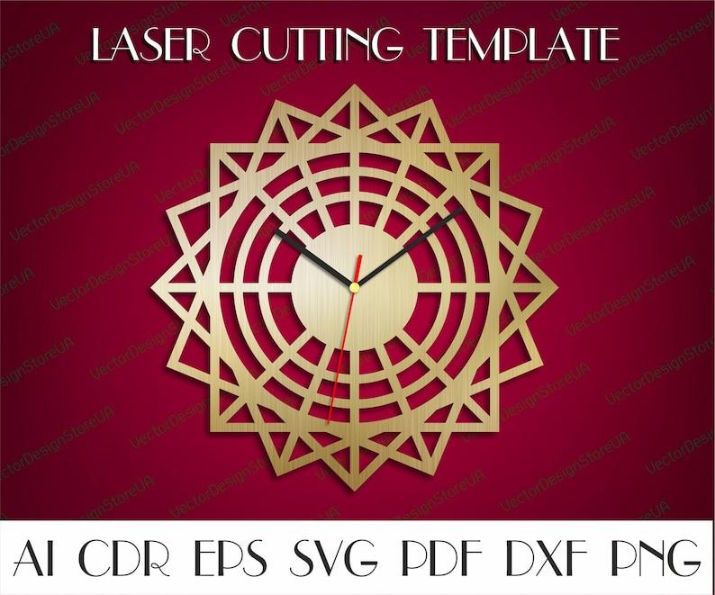 Home Decor Geometric Clock Dxf Geometric Art Dxf Home Wall Art Wood Clock Laser Cut Files Unique Clock Cnc Files For Wood Clock Svg Wcm 119