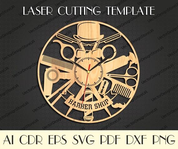 Barber shop clock,Barber decor,Clock laser cut,Barber svg,Barber shop wall clock,Hanging Wall Decor,Barber gift,CNC clock,Barber sign WCM-49