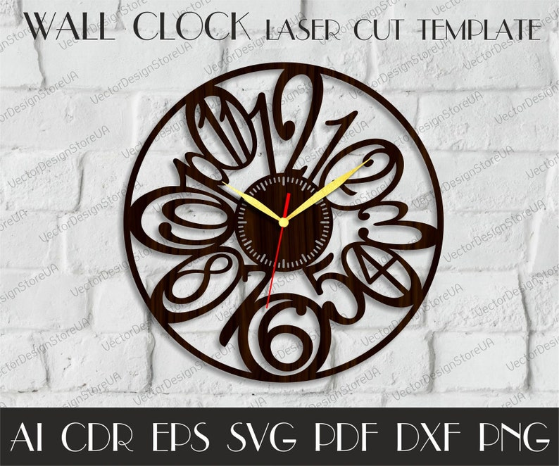 Numbers Clock Svgwood Clock Dxfclock With Numbersmodern Clock For Wallunique Clockdxf Files For Laserbirthday Giftcnc Plans Wcm 83