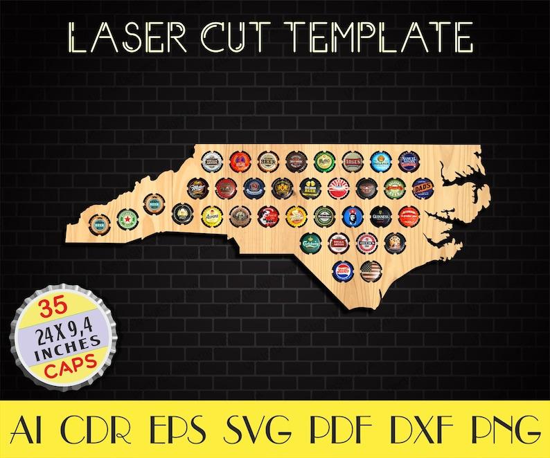 North Carolina Beer Caps map dxf,North Carolina Beer cap holder svg,North Carolina svg,Bottle caps holder,CNC plans,laser cut files LCT-28