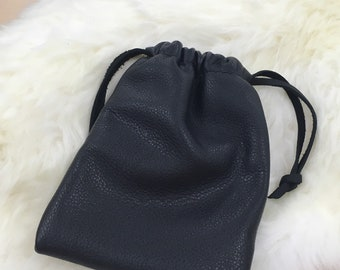Leather draw string pouch