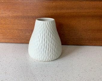 Hand Carved Ceramic Matte White Vase