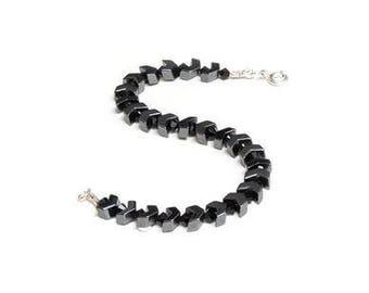 Hematite arrow and black Swarovski crystal bracelet.