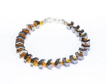 Hematite arrow and orange Swarovski crystal bracelet