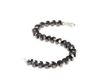 Hematite arrow and rose go,d Swarovski crystal bracelet