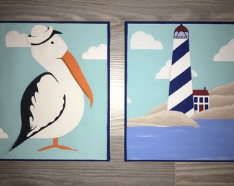 Hand Painted Canvas Lighthouse Pelican / Stork Nautical Decor Baby Boy / Girl Nursery Room Playroom Kids Art Craft Set of 2