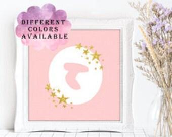 Nursery Printable, Hebrew Letter, Hebrew Alphabet, Nursery Wall Art, Newborn Baby Gift, Initial Letters, Gold Stars, Pink Dots, Room Decor
