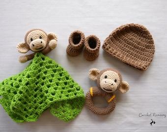 f00c63b4639 Handcrafted Crochet Monkey Baby Gift Set