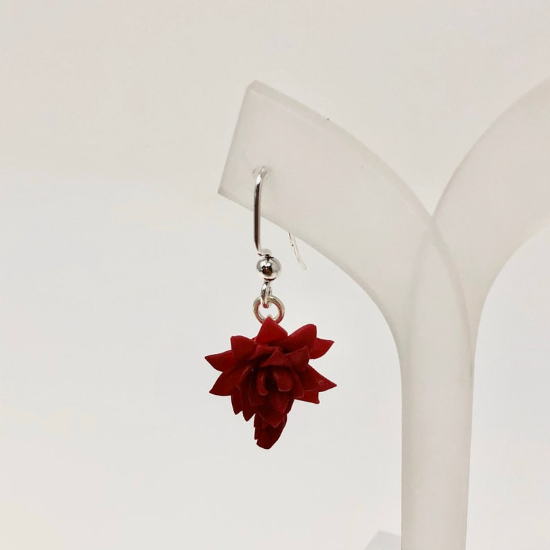Gorgeous Maroon Succulent Red Earrings Findings Sterling Silver .925 Handmade Miniature Mother and Baby