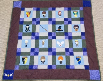Harry Potter Quilt with Embroidered Characters and Free Personalized Label