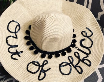 01a953951cb12 Custom Beach Floppy Hat   Honeymoon   Vacation  Out of Office