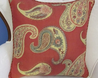 "Lee Jofa 20"" Paisley Pillow Cover with Cording"