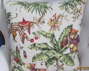 "Pair 22""  Monkeys/Tropical Print Pillow Covers"