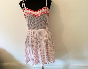 Vintage 70s red and white POLKA DOT summer dress